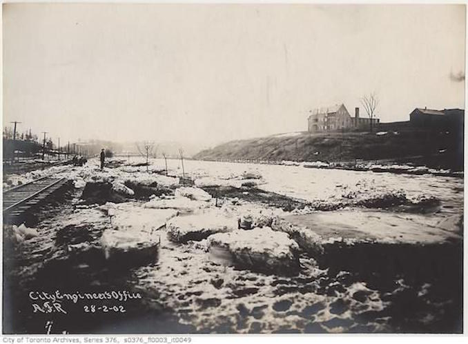 Toronto Winter Photographs –Don river north of Gerrard Street bridge– [189?]