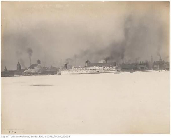 Toronto Winter Photographs Toronto skyline showing air pollution– March 2, 1904