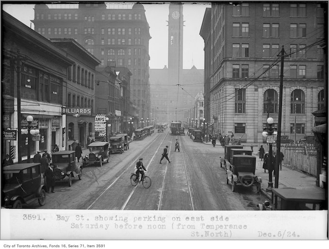Photo: Alfred J. Pearson - December 6, 1924 - Bay St, showing parking, on east side, Saturday, before noon, (from Temperance St, north) - Vintage Bicycle Photographs