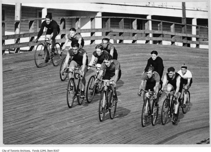 Bicycle race at Velodrome, Scarborough Beach Park. - [ca. 1926] - Vintage Bicycle Photographs