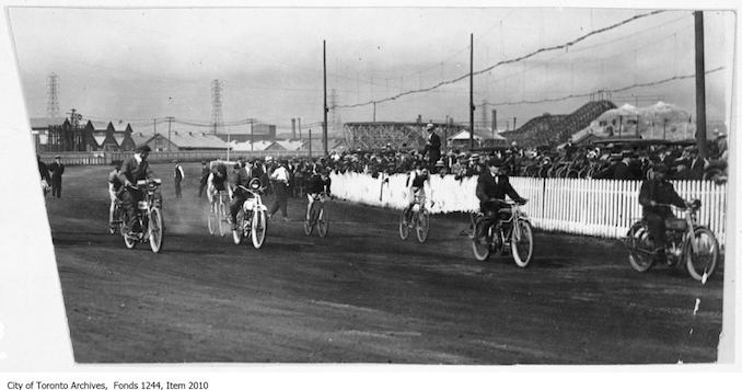 Bicycle race paced by motorcycles, CNE. - [ca. 1920] - Vintage Bicycle Photographs