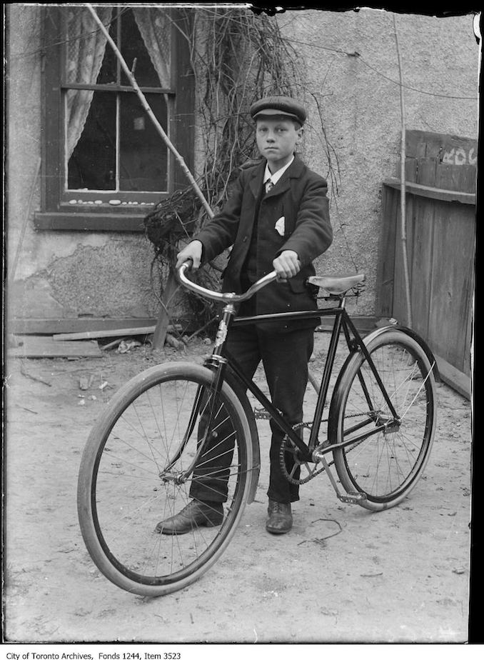 Bill James Jr. and his first Canadian bicycle. - 1907 - Vintage Bicycle Photographs
