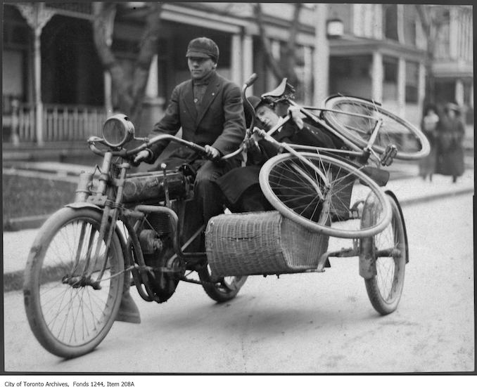 Bill and Joe James in a motorcyle with side car. - [1910?] - Vintage Bicycle Photographs