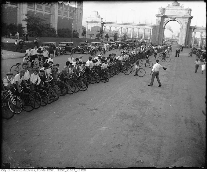 Cyclists lined up for race, CNE - Vintage Bicycle Photographs