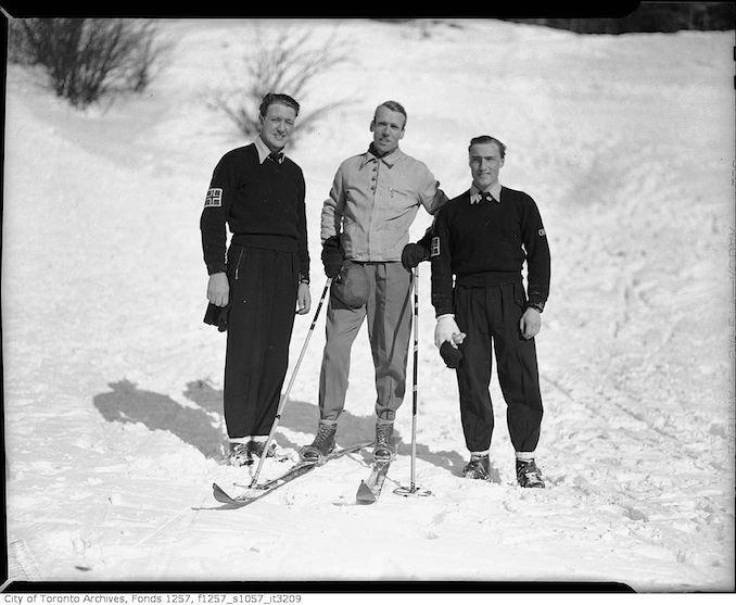 Fred Jackson, with two unidentified men, on skis - vintage skiing photographs