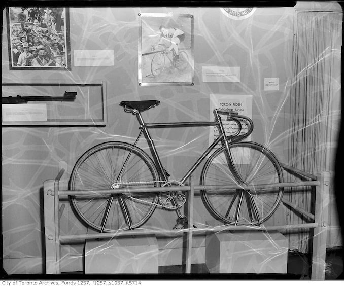 Gold-plated racing bicycle presented to Peden, Canadian Sports Hall of Fame - Vintage Bicycle Photographs