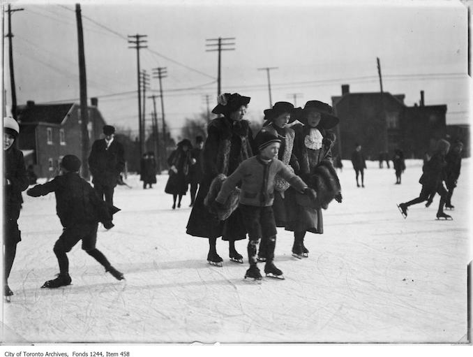 Group skating on a vacant lot. - [1912?]
