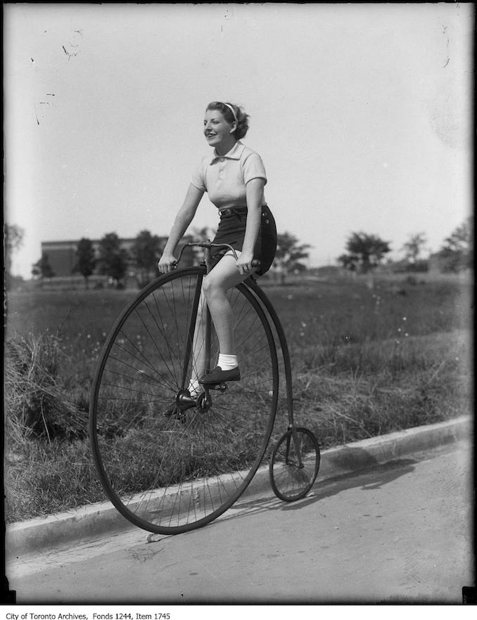 High wheel bike. - 1930 - Vintage Bicycle Photographs