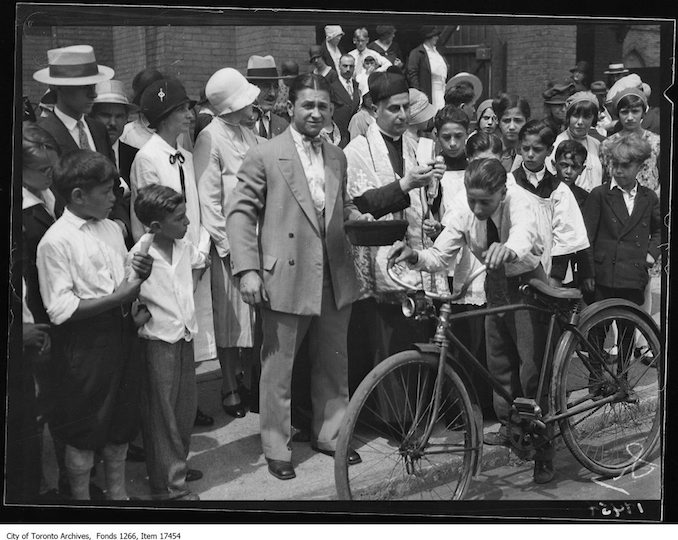 Mt. Carmel Church, Reverend Stephen Anad blessing bicycle. - July 28, 1929 - Vintage Bicycle Photographs