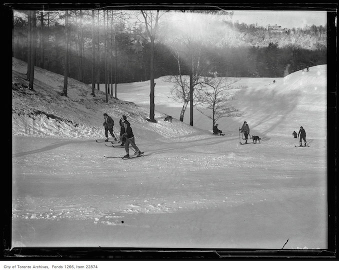 Rosedale Golf [Course], general view, skiers foreground - January 7, 1931 - vintage skiing photographs