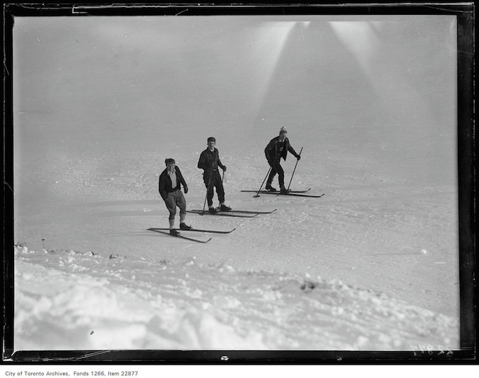 Rosedale Golf [Course], three skiers January 7, 1931 - vintage skiing photographs