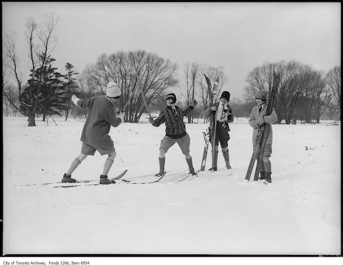 Ski-ing, girls fencing on skis. - January 17, 1926 - vintage skiing photographs