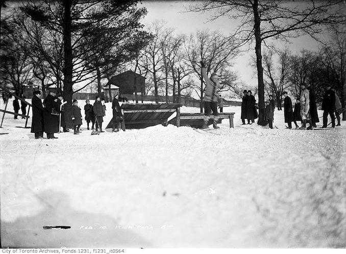 Ski jump, High Park - February 14, 1914 - vintage skiing photographs