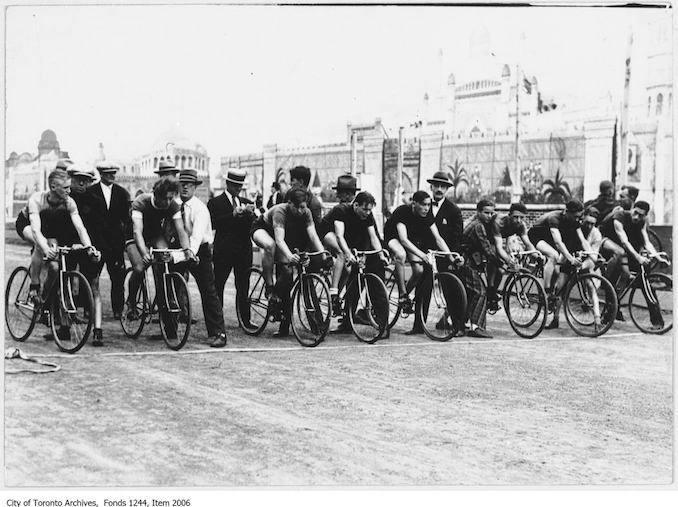 Start of bicycle race, CNE . - September 2, 1926. The winner of the one mile race was Bill Elder, third from left. - Vintage Bicycle Photographs