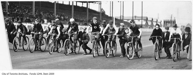 Start of first heat of schoolboys' bicycle race, CNE Grandstand. - [ca. 1926] - Vintage Bicycle Photographs