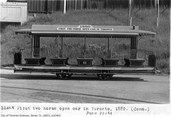 First two horse open car in Toronto, 1880.