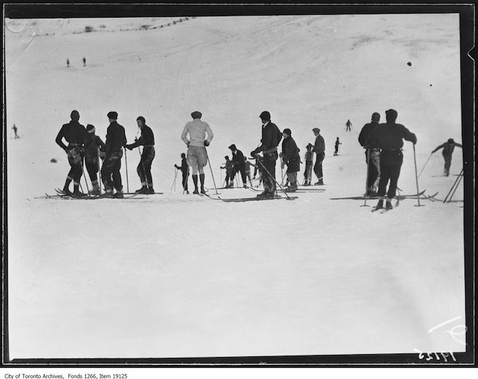 Toronto Ski Club, group watching contest - January 26, 1930 - vintage skiing photographs
