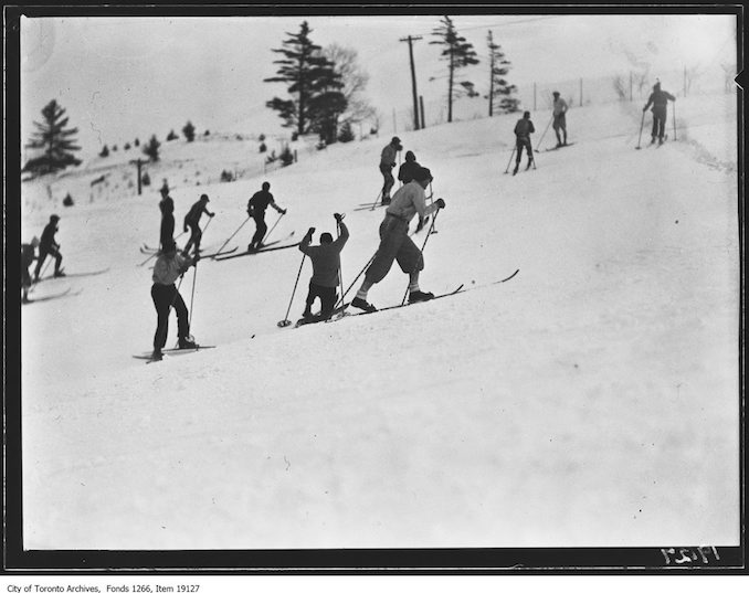 Toronto Ski Club, skiers going uphill - January 26, 1930 - vintage skiing photographs