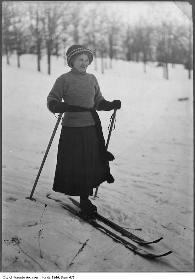Woman skiing in Riverdale Park. - [ca. 1913] - vintage skiing photographs