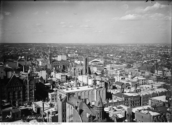 Aerial view northeast from Royal Bank Building 1915