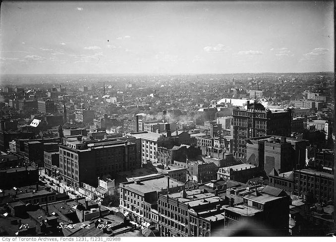 Aerial view northwest from Royal Bank Building 1915