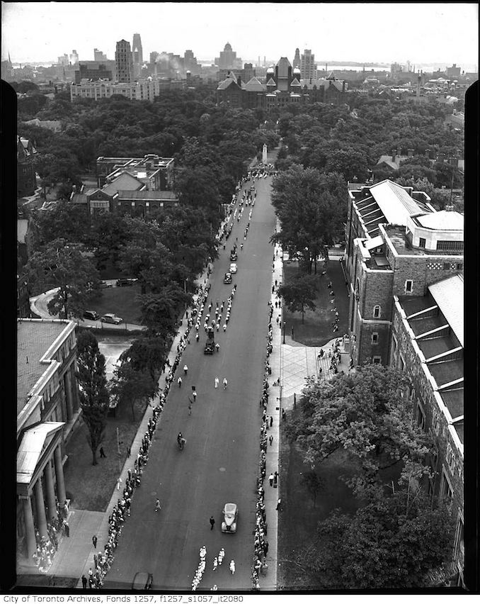 Aerial view of Orange Parade on University Avenue, looking south to Queen's Park 1930-1950