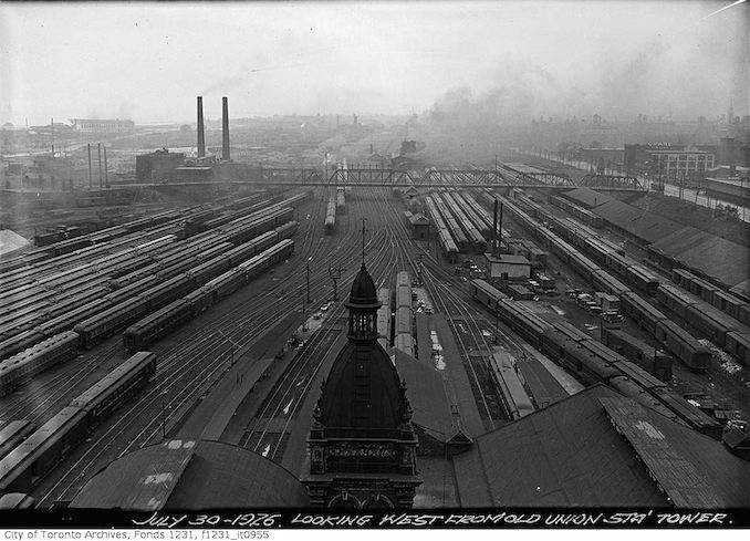 Aerial view of Toronto from old Union Station Tower to the west 1926