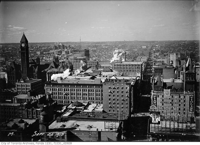 Aerial view of Toronto looking north from Royal Bank Building 1915