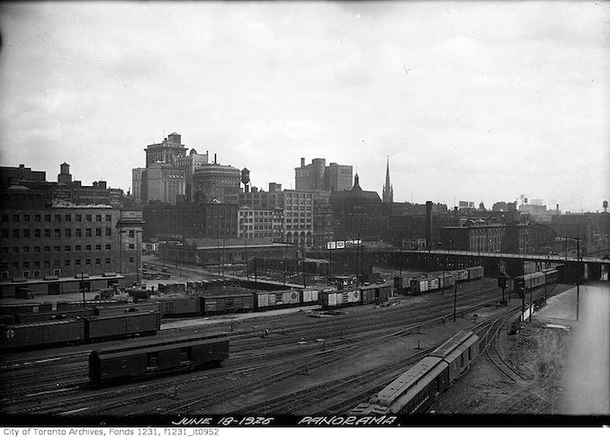 Aerial view of Toronto looking northeast from railway yards 1926