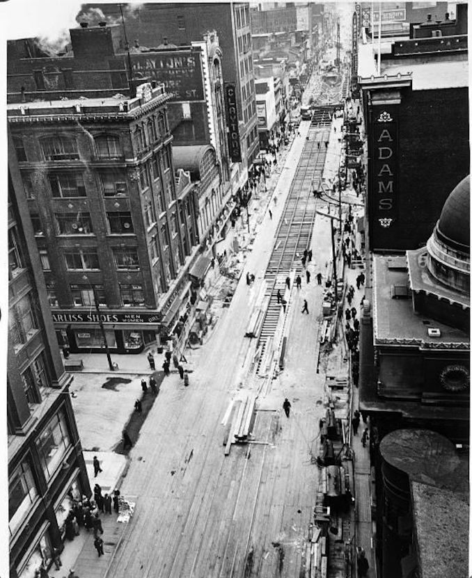 Aerial view of Yonge Street, showing decking [ca. 1949]