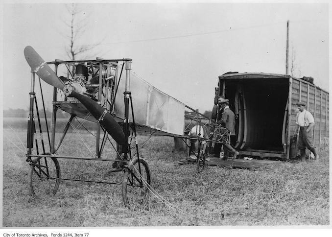 Bleriot monoplane. - 1910 - photograph of an airplane. Information provided by a researcher indicates that the airplane is probably Count Jacques de Lesseps' Bleriot IX mono-plane with 3-cylinder Anzani engine, named Scarabee, and that the event is probably the Ontario Motor League Aviation Meet held at Trethewey Model Farm, Weston, July 8-16, 1910.