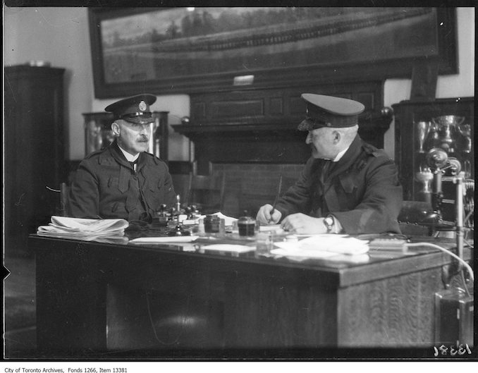 Brig-Gen. D. C. [Draper], new Police Chief, with Dep-Chief Beatty. - May 1, 1928