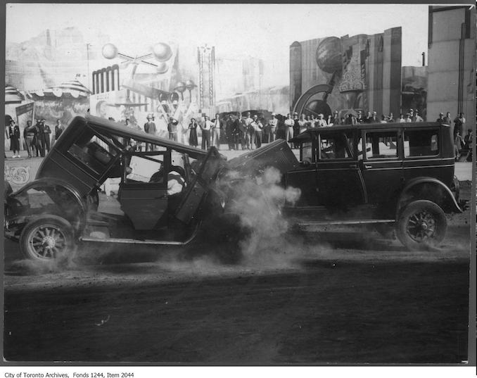 Crash during automobile race, CNE Grandstand. - [ca. 1930]