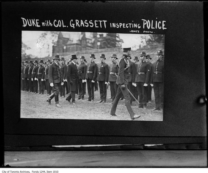 Duke of Connaught with Colonel Grassett, inspecting police. - 1918