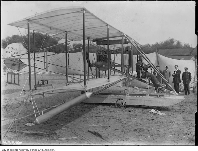 Fred G. Ells in bi-plane. - 1912