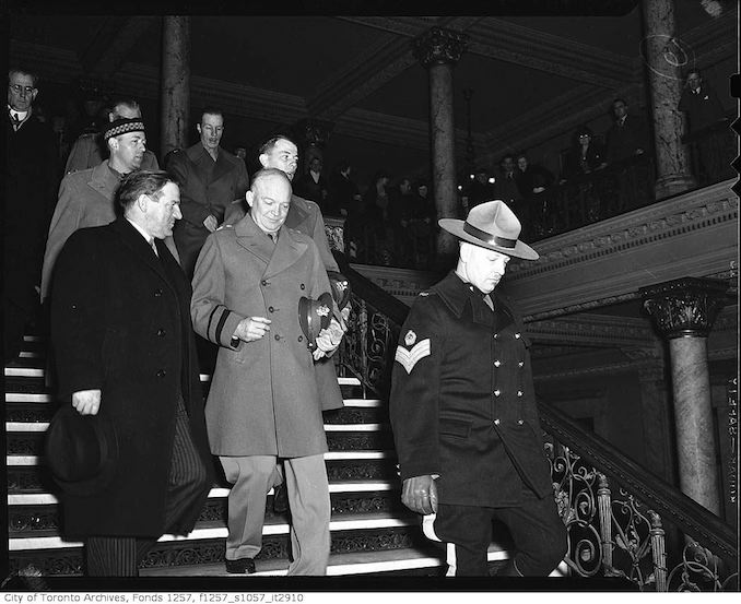General Dwight D. Eisenhower and Mayor Saunders in Old City Hall