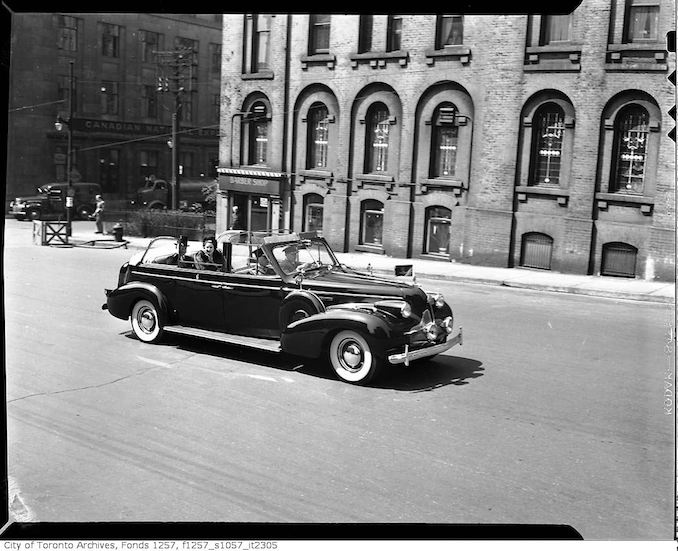 Governor General Alexander and Lady Alexander in automobile, possibly outside Old City Hall may 23 1946