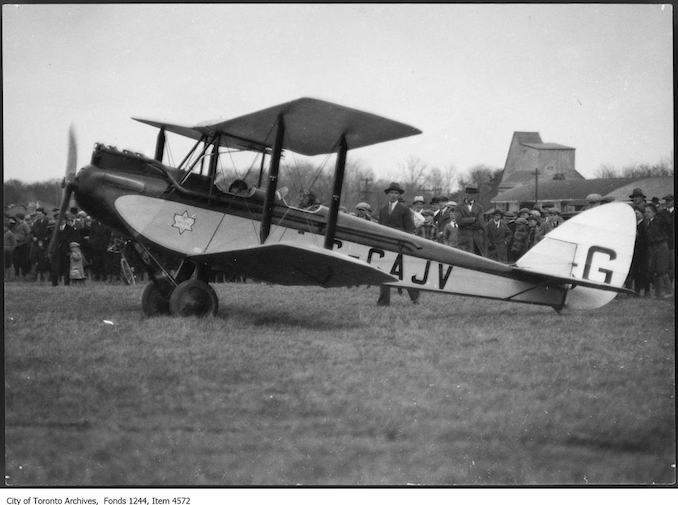 Gypsy Moth airplane. - [ca. 1929] - photograph. A note says the plane is sister to the one presented by Sir Chas. Wakefield, ex-mayor of London, to Toronto Flying Club.