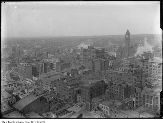 Looking northwest from the top of the Royal Bank building at King and Yonge streets. - [between 1914 and 1916?]