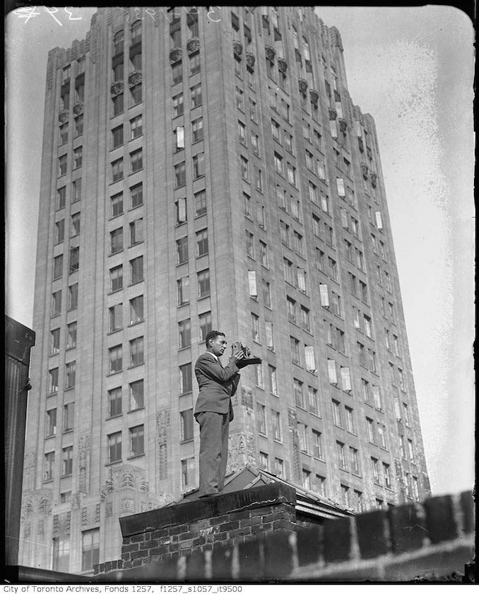 Nat Turofsky Rooftopping with camera - (ca. 1930)