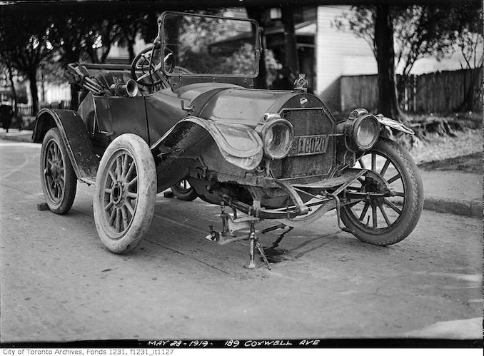 Old Overland car after accident on Coxwell Avenue may 28 1919