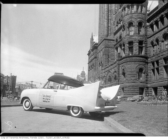Ontario Safety League's and British Petroleum's %22Mr. Beep%22 automobile at Old City Hall 1959