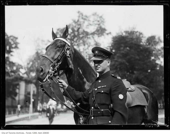 July 1, 1930 Open air horse show, Police Constable Cooper (198), Maggie, 1st prize police horse.