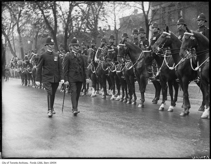 Police Parade, Chief Dickson & Inspector Crosbie, mounted men. - May 15, 1927