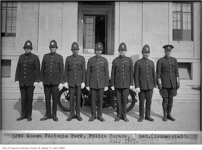 Queen Victoria Park, police parade, 8 men, (Commercial Department) Date: July 1927