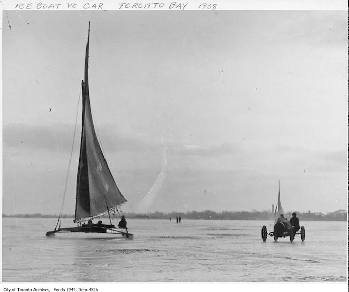 Race between iceboat and automobile, Toronto Bay. - [1908?]