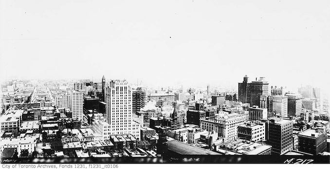 Toronto aerial view north from Royal York Hotel 1929
