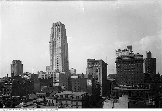 city building side. Toronto Aerial View North Side From Board Of Trade Building 1930