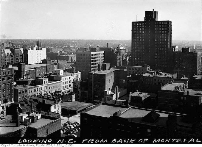 Toronto aerial view northeast from Bank of Montreal 1930-1950