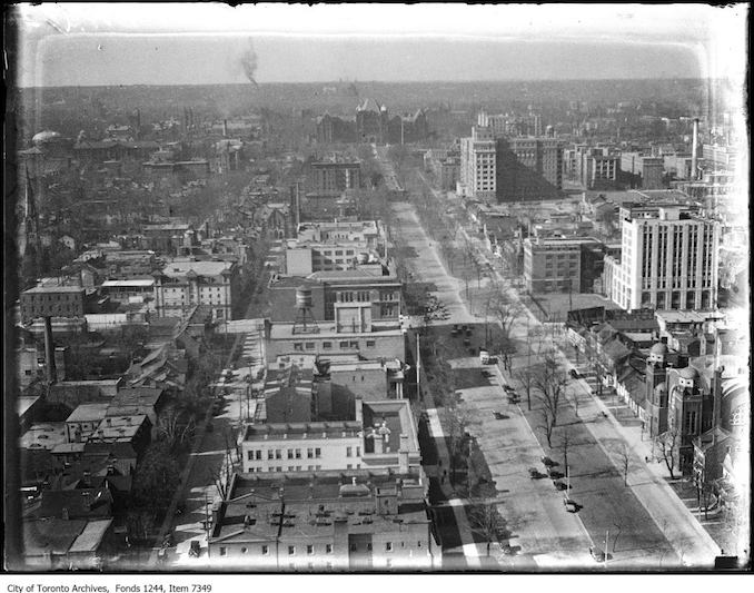 University Avenue, looking north from roof of Canada Life Building. - 1929